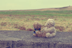 Two teddy bears negotiations vintage style. For web design and background Royalty Free Stock Images