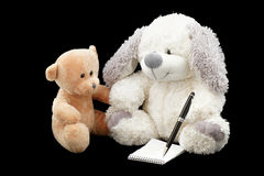 Write teddy bears message. Stock Photo