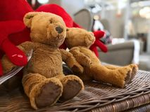 Two teddy bears sit on a box stock image