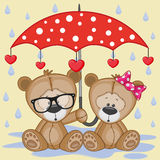 Two Teddy Bears with umbrella Stock Photography