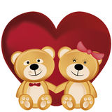 Two teddy bears in valentines day. Two beautiful and cheerful teddy bears hugging each other in valentines day Stock Images
