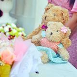Two teddy bears with wedding serene. Royalty Free Stock Photography