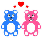 Two teddy who loves Royalty Free Stock Photo