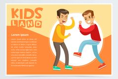 Two teen boys fighting each other, boy bullying classmate, aggressive behavior, kids land banner flat vector element for. Website or mobile app with sample text Stock Photos