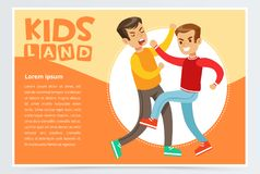 Two teen boys fighting each other, teen kids quarreling, aggressive behavior, kids land banner flat vector element for vector illustration