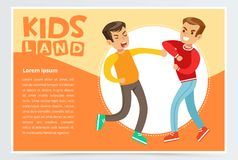 Two teen boys fighting each other, teen kids quarreling, kids land banner flat vector element for website or mobile app. With sample text Stock Images