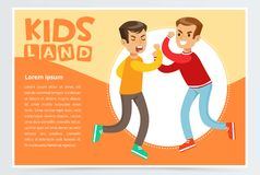 Two teen boys fighting each other, teenager kids quarreling, aggressive behavior Royalty Free Stock Photos