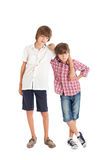 Two boys, two friends. Two teen boys hugging each other Royalty Free Stock Photos