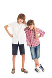 Two boys, two friends. Two teen boys hugging each other Royalty Free Stock Images