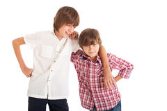Two boys, two friends. Two teen boys hugging each other Stock Photography