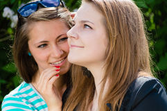 Two teen girl friends sharing secret Stock Photo