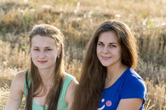 Two teen girl outdoors Stock Photos