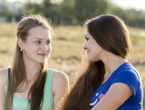 Two teen girl outdoors Royalty Free Stock Photography