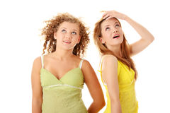 Two teen girlfriends Stock Images