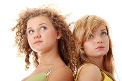 Two teen girlfriends Stock Photo
