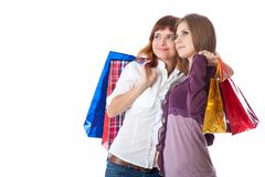 Two teen girls with bags Royalty Free Stock Photography