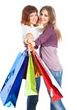Two teen girls with bags Royalty Free Stock Images