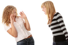 Two teen girls having an argue stock photo