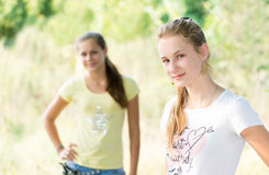 Two teen girls in nature Royalty Free Stock Photos
