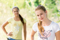 Two teen girls in nature Royalty Free Stock Images