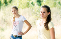 Two teen girls in nature Stock Photos