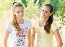 Two teen girls in nature Stock Image