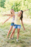 Two teen girls in nature Stock Images