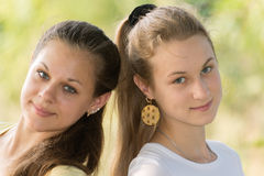 Two teen girls in nature Stock Photography