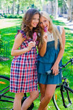Two teen girls outside Stock Photo