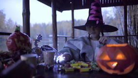 Two teen girls sharing candys after trick or treat on Halloween. And jack o'lantern on the table stock video