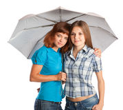 Two teen-girls with umbrella Royalty Free Stock Photos