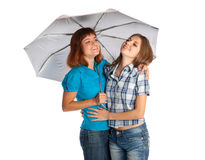 Two teen-girls with umbrella Stock Photos