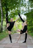 Two Teen Rhythmic Gymnasts Stock Photo