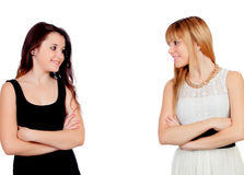 Two teen sisters isolated stock images