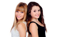 Two teen sisters isolated Royalty Free Stock Images