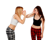 Two teen sisters whispering Stock Image