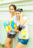 Two teen thai girl joins Songkran Day. Royalty Free Stock Photo