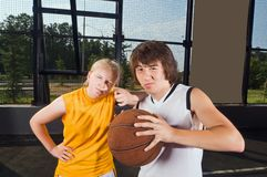 Two teenage basketball players Stock Image
