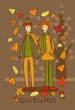 Two teenage boys in autumn forest Royalty Free Stock Photo