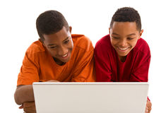 Two teenage boys looking at computer Royalty Free Stock Photography