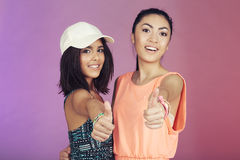 Two teenage friends in studio Stock Photo