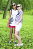 Two Teenage Girfriends Standing Together Royalty Free Stock Photo