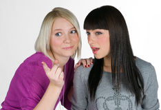 Two teenage girlfriends Stock Images