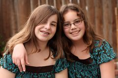 Two teenage girls (12 and 13) Stock Photos