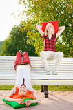 Two Teenage Girls At The Park Royalty Free Stock Image