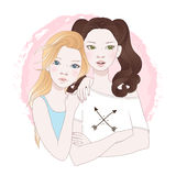 Two teenage girls best friends vector illustration Royalty Free Stock Images