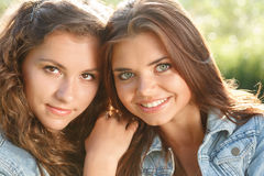 Two teenage girls Stock Photos
