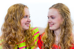 Two teenage girls embracing each other Stock Photography