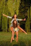 Two teenage girls Stock Photos