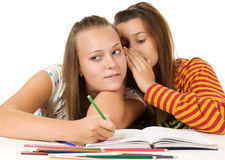 Two teenage girls gossiping Stock Images